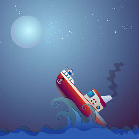 steamship: Steamship storm, ocean, sea, vector illustration