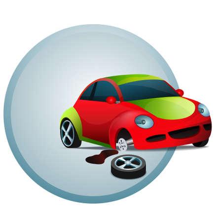 Broken red car, wheel car, motor oil, vector illustration