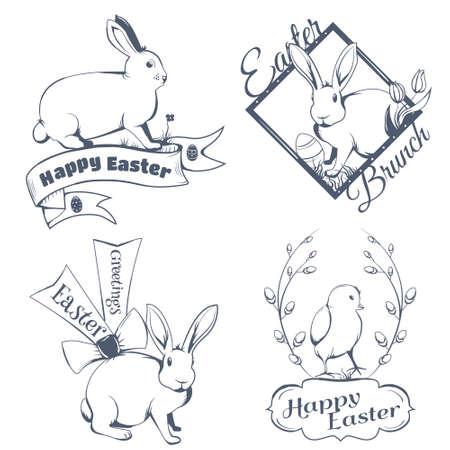 conejo: Icono de Pascua feliz Vectores