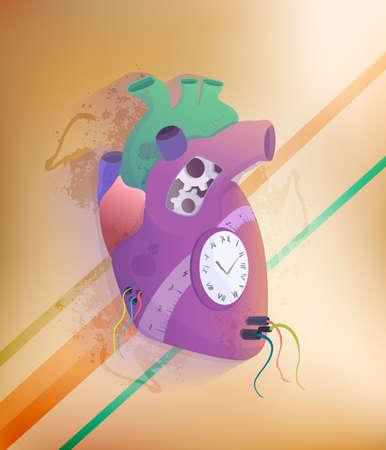 ventricle: Steampunk Human Heart. Vector illustration