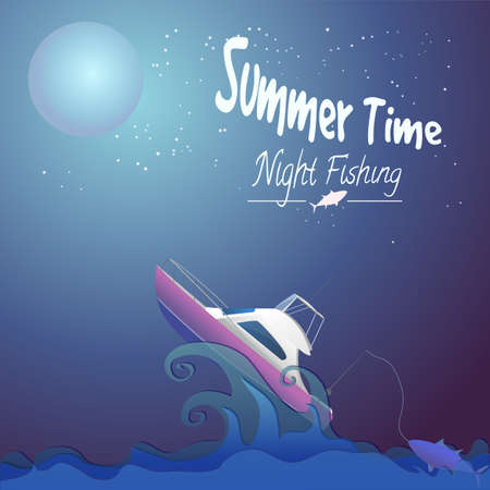 Night fishing on a motorboat spinning, summer time text, night fishing text Ilustração