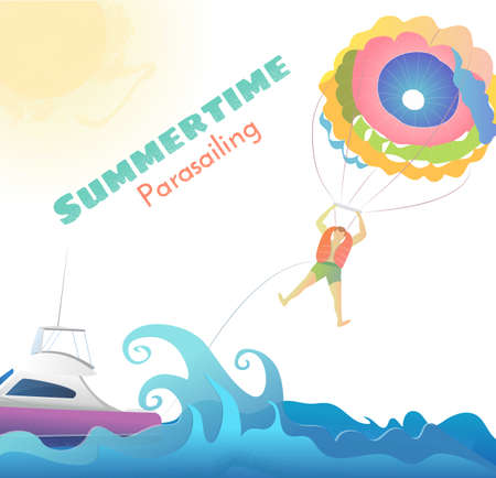 Parasailing - summer kiting activity, person is towed behind a boat, colorful parachute, summer time text, vectors illustration