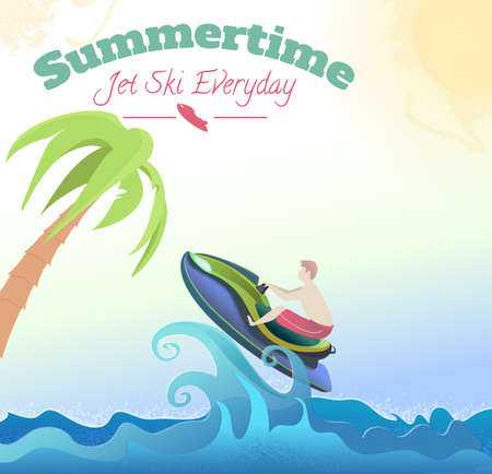 Jet ski on wave, man in red shorts, suumer time text, vector  illustration