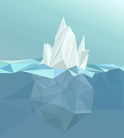 berg: Polygonal iceberg glacier landscape polygonal sea white blue color