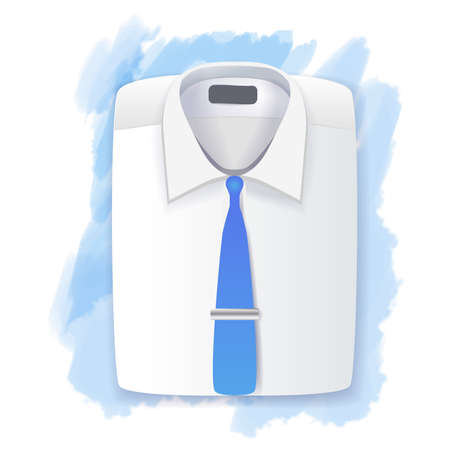 folded clothes: Mens folded shirt and tie