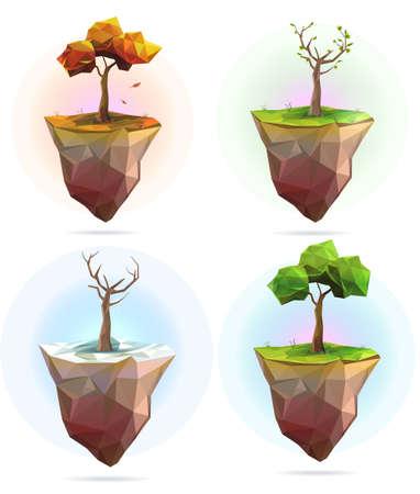 cuatro elementos: Cuatro estaciones Ilustración del árbol del vector, colección conjunto de estilo poligonal baja poli Vectores