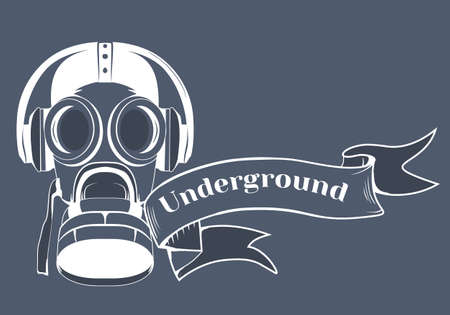 underground: Gas mask logo, headphone text underground, vector illustration