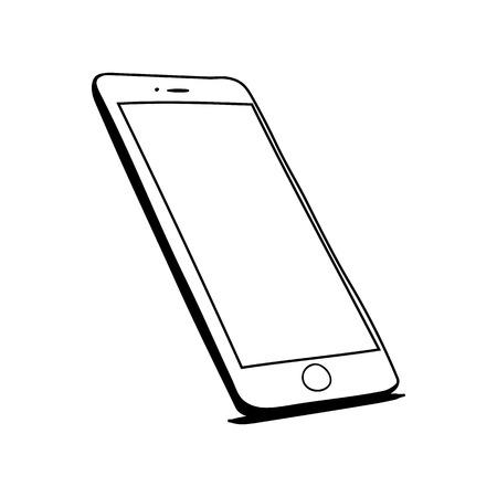 Schizzo disegnato a mano del telefono cellulare Vettoriali