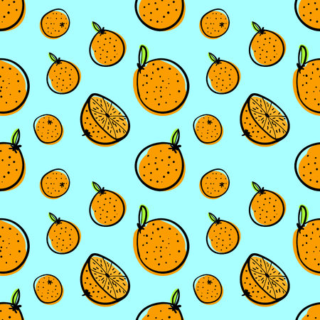 Oranges, citrus hand drawn seamless vector pattern. Flat doodle fruits, mandarins color background. Freehand citrus fruits with leaves sketch. Wrapping paper, wallpaper, kitchen textile design
