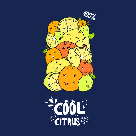 Citrus fruits characters vector doodle drawing, kawaii citrus Illustration
