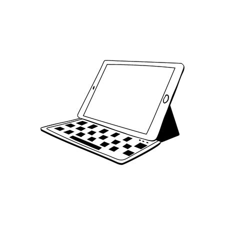 Tablette détachable avec illustration du clavier. Dessin isolé pour ordinateur portable portable. Gadget, croquis de l'appareil. Écran tactile vierge. Élément de design dessiné à la main d'ordinateur personnel. Clipart de technologie moderne Vecteurs