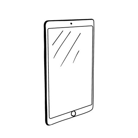 Illustration dessinée à la main de tablette graphique informatique. Appareil pour le dessin numérique. Gadget portable isolé clipart vectoriel. Équipement professionnel pour designer, artiste. Croquis de stylo d'encre d'écran tactile