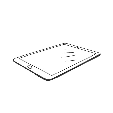 Graphics tablet contour vector illustration. Digital drawing device hand drawn sketch. Modern technologies for designer, artist. Portable gadget with blank screen. Ink pen tablet PC isolated clipart