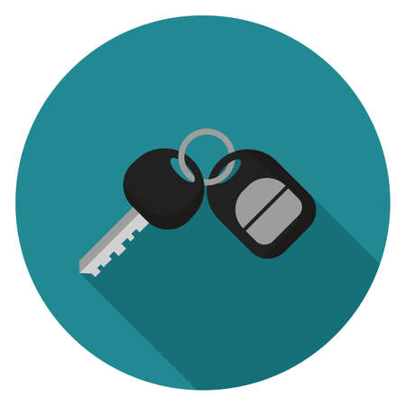Car key icon. Illustration in flat style. Round icon with long shadow.