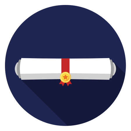 Diploma rolled icon. Illustration in flat style. Round icon with long shadow.