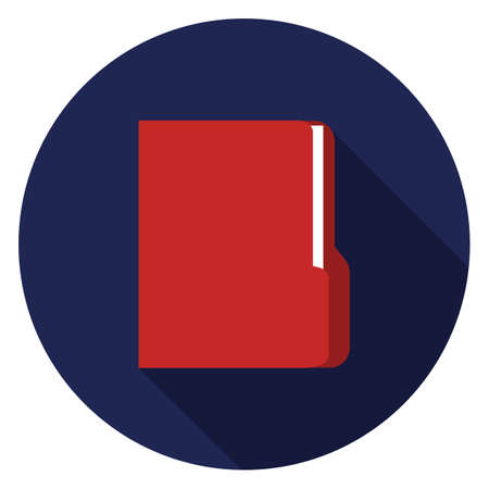 Documents folder icon. Illustration in flat style. Round icon with long shadow. Illustration