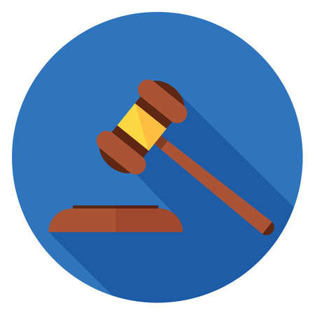 Gavel icon. Illustration in flat style. Round icon with long shadow.