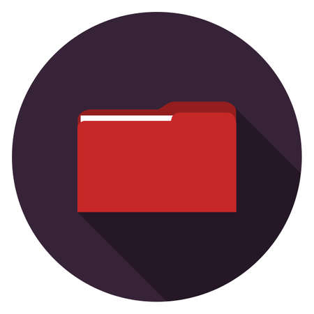 Folder icon. Illustration in flat style. Round icon with long shadow.