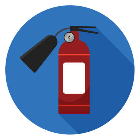 Fire extinguisher icon. Illustration in flat style. Round icon with long shadow.