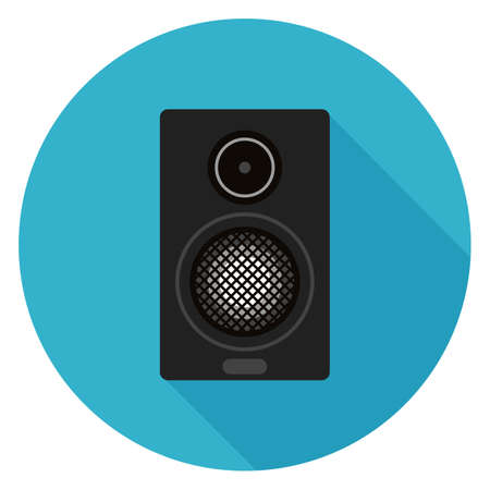 Home sound system icon. Illustration in flat style. Round icon with long shadow. Illustration