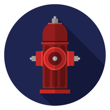 Hydrant icon. Illustration in flat style. Round icon with long shadow.