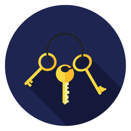Bunch of keys icon. Illustration in flat style. Round icon with long shadow.