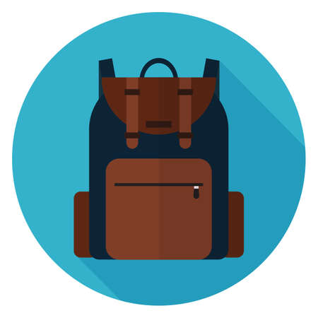 Camping backpack icon. Illustration in flat style. Round icon with long shadow. Illustration