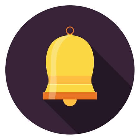 Bell icon. Illustration in flat style. Round icon with long shadow.