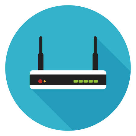 Router icon. Illustration in flat style. Round icon with long shadow.