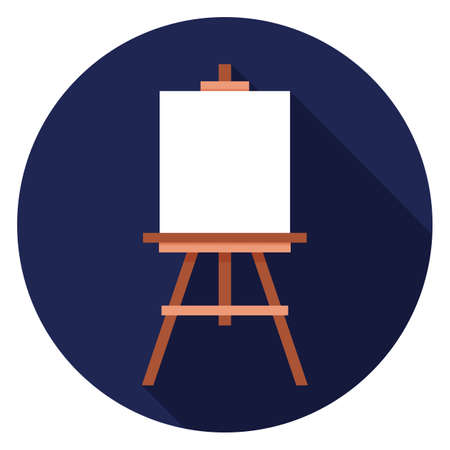 Easel icon. Illustration in flat style. Round icon with long shadow. Vectores
