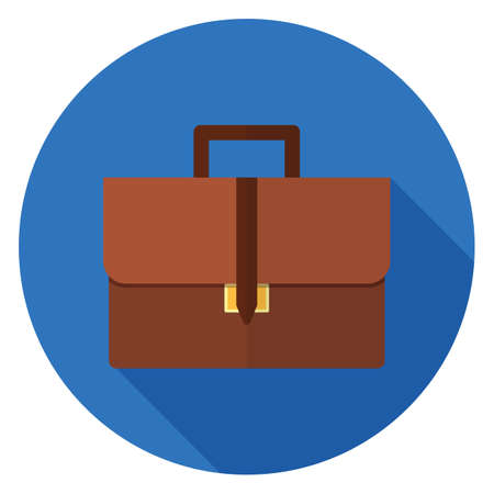 Briefcase icon. Illustration in flat style. Round icon with long shadow.