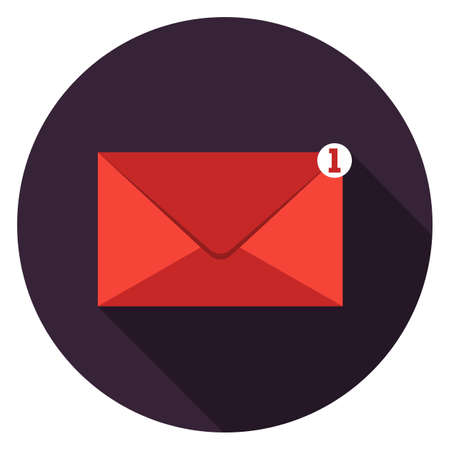 Mail icon. Illustration in flat style. Round icon with long shadow. Illustration