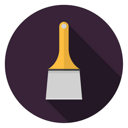Putty knife icon. Illustration in flat style. Round icon with long shadow.