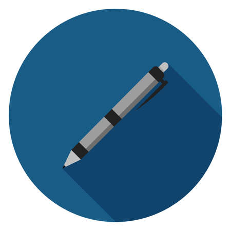 Office pen icon. Illustration in flat style. Round icon with long shadow. Illustration