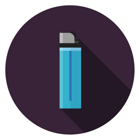 Lighter icon. Illustration in flat style. Round icon with long shadow. Illustration