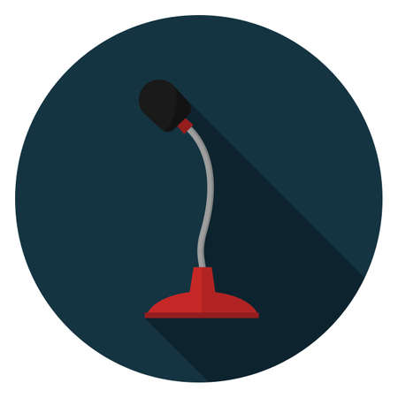 Red microphone icon. Illustration in flat style. Round icon with long shadow. Illustration