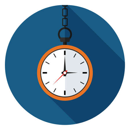 Pocket watch icon. Illustration in flat style. Round icon with long shadow. Vectores
