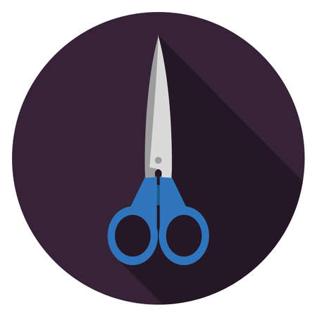 Scissors icon. Illustration in flat style. Round icon with long shadow.