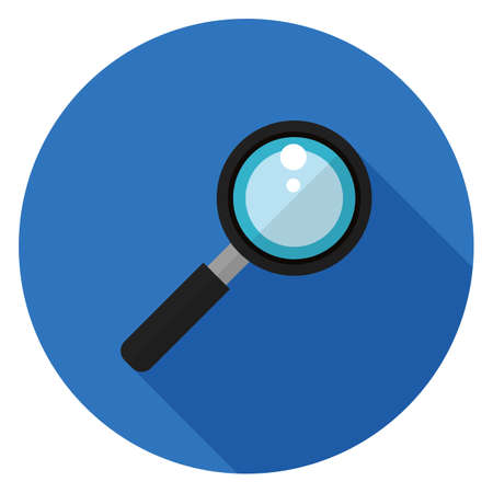 Magnifier icon. Illustration in flat style. Round icon with long shadow.
