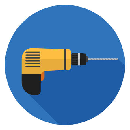 Drill icon. Illustration in flat style. Round icon with long shadow. 일러스트