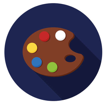 Art palette icon. Illustration in flat style. Round icon with long shadow.