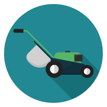 Lawn mower icon. Illustration in flat style. Round icon with long shadow.