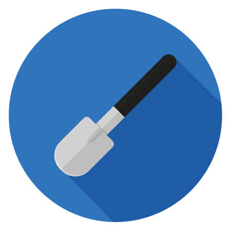 Hand shovel icon. Illustration in flat style. Round icon with long shadow.