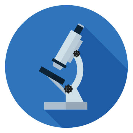 Microscope icon. Illustration in flat style. Round icon with long shadow. Illustration