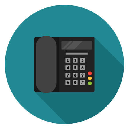 Office phone icon. Illustration in flat style. Round icon with long shadow.