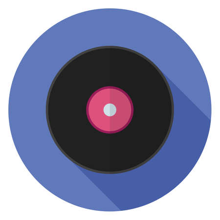Vinyl record icon. Illustration in flat style. Round icon with long shadow.
