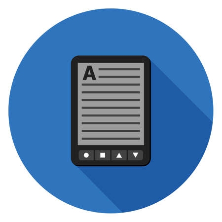 E-book reader icon. Illustration in flat style. Round icon with long shadow.