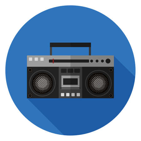 Boombox icon. Illustration in flat style. Round icon with long shadow. Illustration