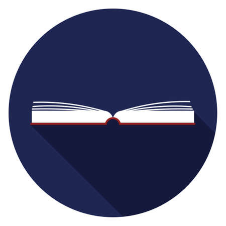 Opened book with pages fluttering icon. Illustration in flat style. Round icon with long shadow. Illustration
