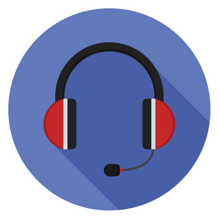 Headphones with microphone icon. Illustration in flat style. Round icon with long shadow. Illustration
